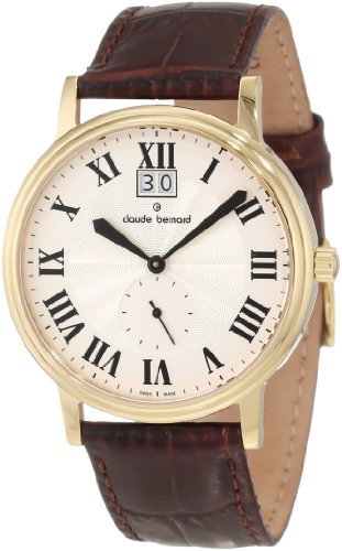 Claude Bernard Men's 64010 37J AR Classic Gents Gold PVD Silver Dial Leather Date Watch