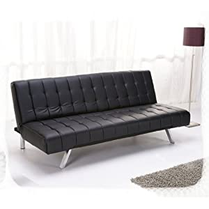Aqua 3 seater black sofa bed faux leather w metal legs for Sofa bed amazon