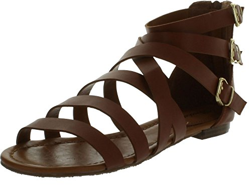 Breckelles Women'S Covina-14 Strappy Buckle Detailed Gladaitor Flat Sandal,7 B(M) Us,Tan front-413416