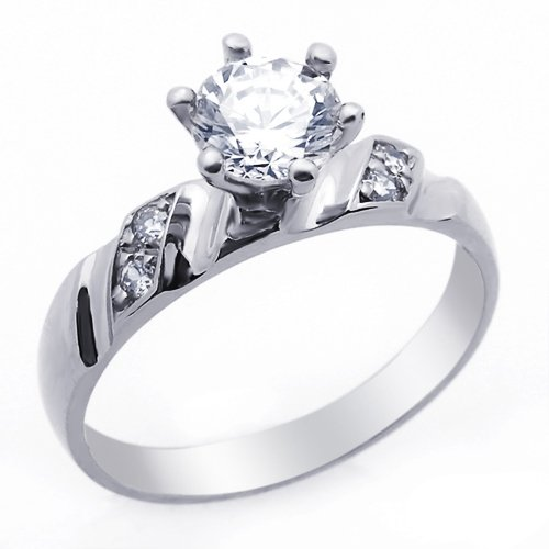 Little Treasures 14 ct Engagement Ring 1ctw CZ Cubic Zirconia Solitaire White Gold Ring