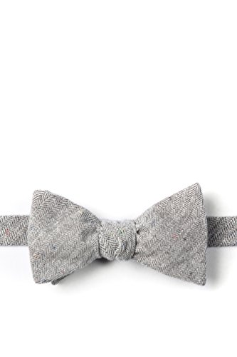 Light Gray Tamster Light Gray Cotton Butterfly Self Tie Bow Tie