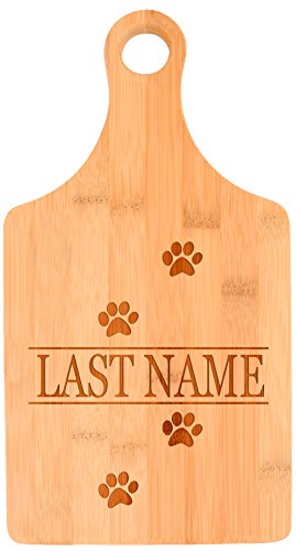 Customized Last Name Dog Cat Lover Wedding Gift Personalized Paddle Shaped Bamboo Cutting Board