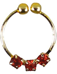 "Pearl Paradise ""Scarlett Red"" Cubic Zirconia Gold Plated Nose-ring For Women And Girls."