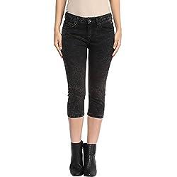 SF Jeans by Pantaloons Women's Slim Fit Capri (205000005543738_Black_28)