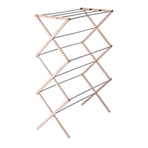Household Essentials Folding Wood Clothes Drying Rack, Pre assembled