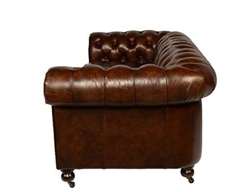 Leather Chesterfield Sofa in Antiqued Vintage Leather by Lazzaro 5503 Senator Collection 5