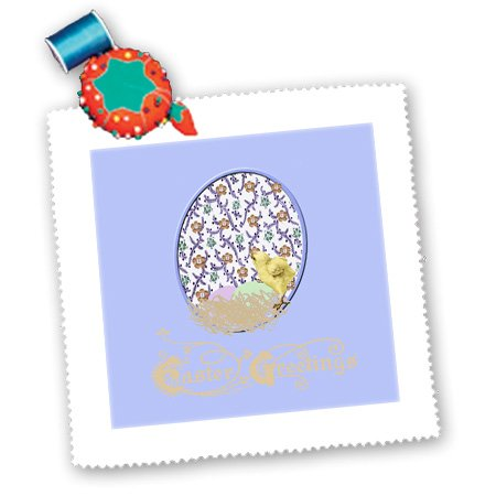 Qs_174112_10 Beverly Turner Easter Design And Photography - Little Yellow Chick, Nest, Eggs, Flowered Background, Purple, Yellow, Green - Quilt Squares - 25X25 Inch Quilt Square front-286678
