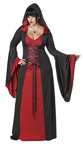 Sexy Deluxe Hooded Robe Costume Dress Adult Women's Black Red Vampire Plus Sizes