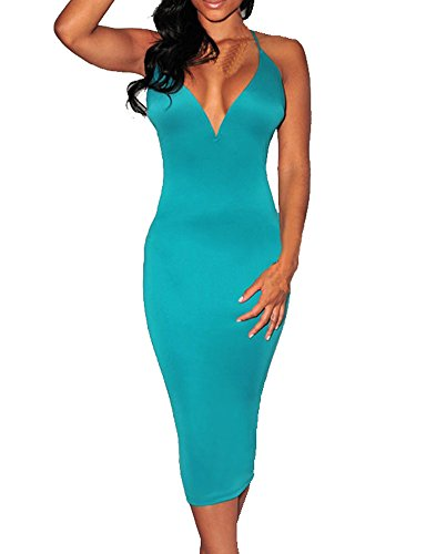 Womens Celeb Midi Knee Length Green Plunging V Neck Halter Lace-Up Evening Dress (Green)