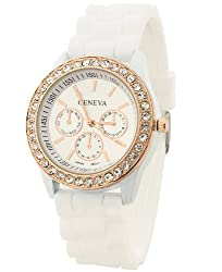 Geneva Rhinestone collection Silicone Strap Analog White color Womens watch