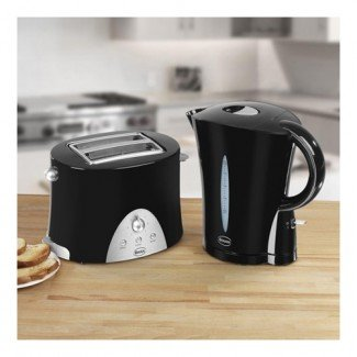 Swan Kettle  &  2 Slice Toaster Pack Kettle and 2 Slice Toaster Pack . Black