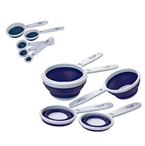 Progressive International Set of Collapsible Measuring Cups and Spoons (Blue)