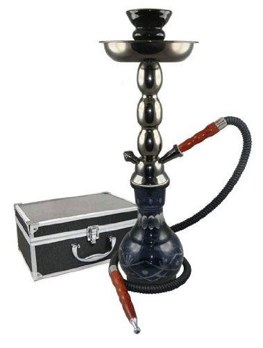 New Black 18″ 2 Hose Hookah with Briefcase