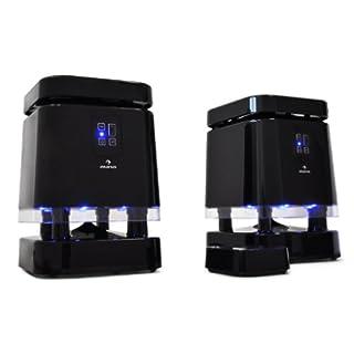 Auna - Sistema de Altavoces inalámbricos UHF ideales para hogares que cuentan con un diseño moderno (Alcance de transmisión de 100m, 3 canales de transmisión desde equipos de música, estéreos, MP3, Potencia 500W) Color Negro Iluminación LED Azul