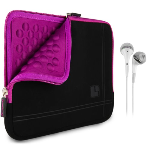 Sumaclife Padded Sleeve - Pro Microsuede Quilted Cover Purple Black For Amazon Kindle 8.9 Hd / Fire Hdx + White Hands-Free Headphones W/ Microphone