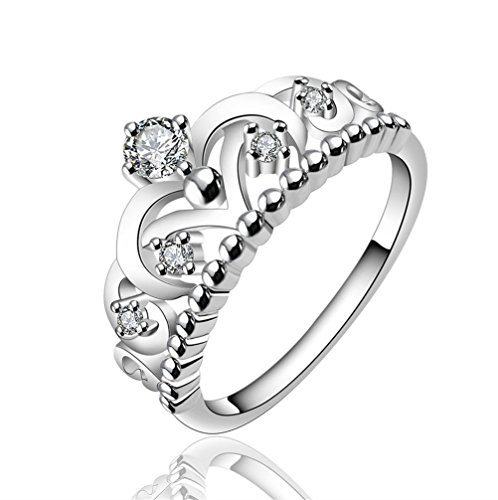 HMILYDYK Elegant Crystal Princess Crown Ring Fashion 925 Sterling Silver plate Beautiful Silver Rings