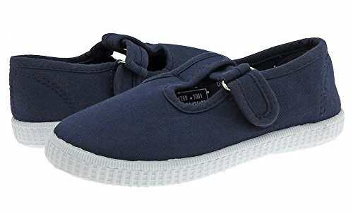 Capelli New York Toddler Girls Solid Canvas Shoe with T-strap Velcro Closure Navy 12