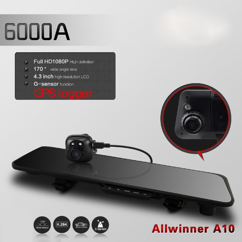"Docooler 6000A Car Rearview Mirror Camera Recorder Dvr Dual Lens 4.3"" Tft Lcd Hd 1920X1080P Rear View Camera 720P With Gps G-Sensor"