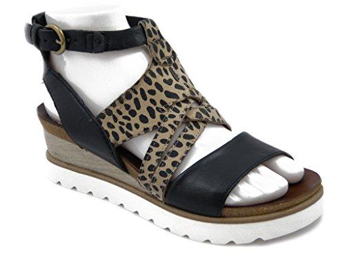 Sandalo Mjus in pelle, con zeppa 4cm. e suola in gomma antiscivolo , 221001-Estivo
