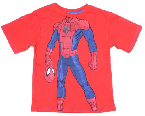 Spider-Man Boys Red Short Sleeve Tee Shirt With Torso Print4 front-390132