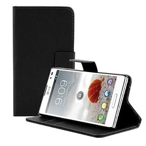 kwmobile® Elegante Wallet Kunstledertasche für das LG Optimus L9 P760 mit Magnetverschluss und Ständerfunktion in Schwarz