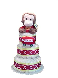 Curious George Gender Neutral Baby Shower Diaper Cake Gift Set