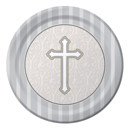 Creative Converting Devotion Cross Round Dessert Plates, Silver, 8 Count - 1