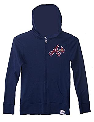 Majestic Atlanta Braves Womens Size Medium Full Zip Hoodie Hooded Jacket - Ladies