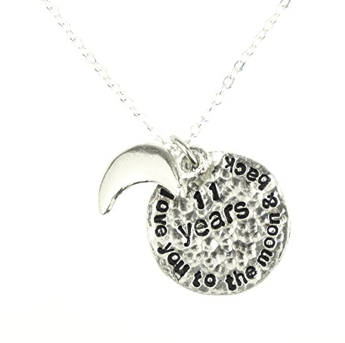 I Love You To The Moon And Back 11th Wedding Anniversary Necklace - Unique 11th Anniersary Gift Idea