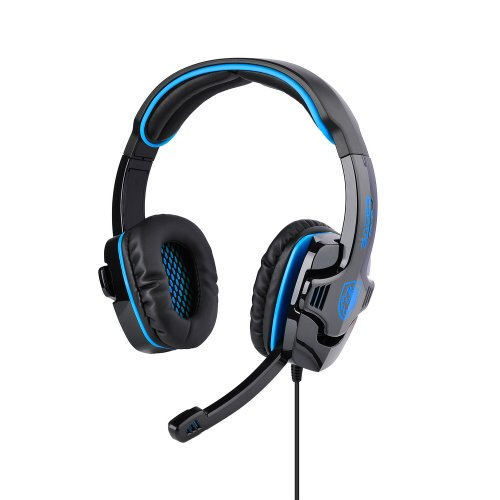 Patuoxun Gaming Stereo Headphones Headset W/ Microphone For Games Skype Voip - Over-Ear Professional Stereo Headset And Noise Cancellation Blue