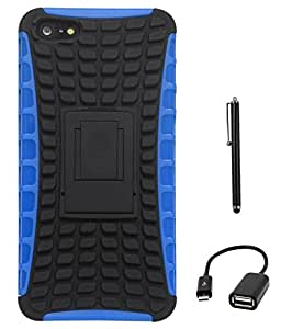 DMG Rubberized Hard Back Kickstand Case for Apple Iphone 5 (Blue-Black) + USB OTG Cable + Stylus
