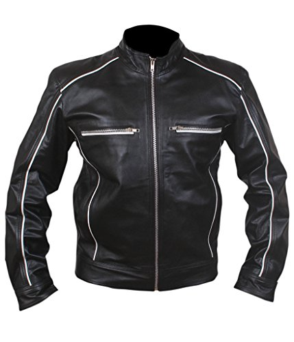 [F&H Men's Retro White Piping Cafe Racer Tron Jacket XL Black] (Fight Club Tyler Durden Costume)