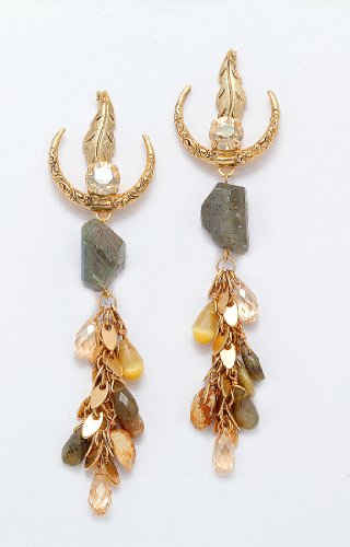 Amaro Jewelry Studio 'Transformation' Collection 24K Yellow Gold Plated Dangle Earrings with Leaf Elements, Leopard Skin, Labradorite, Abalone, Gasper, River stone, Tiger eye