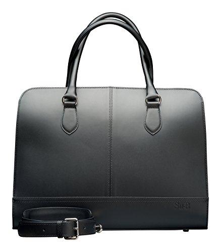 """Su.B Borsa Donna per portatile da 13 """"14"""" pollici in Vera Pelle lavorata a mano Modello Business - Made in Italy - Bianco e nero"""