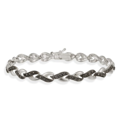 Sterling Silver Black Diamond Accent Infinity Link Bracelet