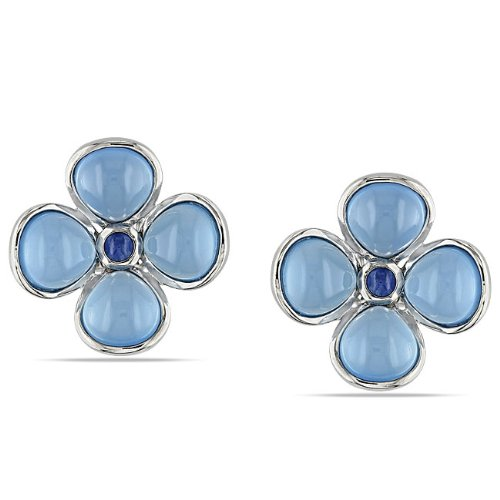 Sterling Silver, Chalcedony and Sapphire Earrings