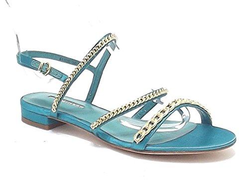 Barachini scarpe donna, modello 4113, sandalo in raso con catena metallo, colore ottanio