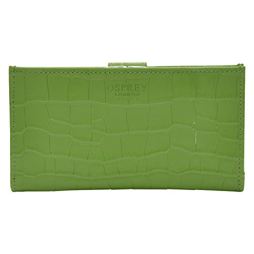 Womens Osprey London Large Apple Green Leather Crocodile Print Purse Ladies