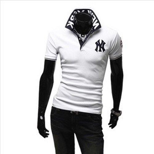 (ライセンス)RAiseNsE 半袖 ストリートポロシャツ スタンドカラー Tシャツ カットソー #TP102 M ホワイト