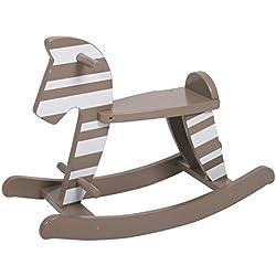 Kid 'n Joy Hochwertiges Schaukelpferd / Schaukeltier Grau mit weißen Streifen aus robustem MDF Holz - 68x27x50 cm (LxBxH)
