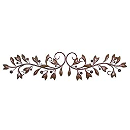 Brown Leaf & Beads Urban Design Metal Wall Decor for Nature Home Art Decoration & Kitchen Gifts by Super Z Outlet®