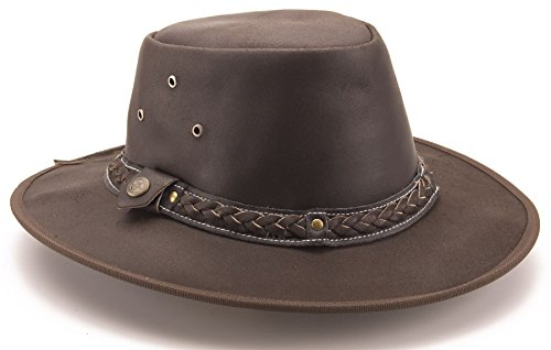 Brunhide Australian Style Full Grain Leather All Weathers Bush Hat # 501-300 , Brown, Large - 23.25