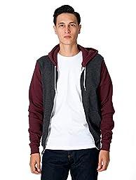American Apparel Men Flex Fleece Two-Tone Zip Hoodie Size S Dark Heather Grey /