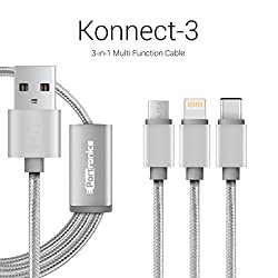 Portronics Konnect 3 Three-in-One multifunction (micro USB / lightning / type C) cable-Grey