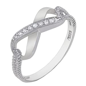 Authentic Diamond Color Cubic Zirconia .925 Sterling Silver Infinity Symbol Ring Special Limited Time Offer Super Sale Price, Comes with a Free Gift Pouch and Gift Box (8.5)