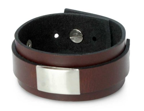 Men's Leather Wristband Bracelet, 'Contrast'