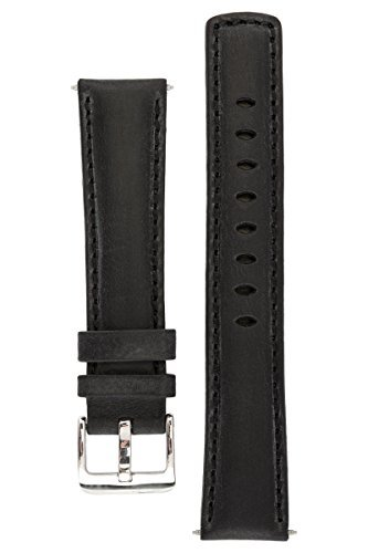 signature-traveller-24-mm-black-watch-band-replacement-watch-strap-genuine-leather-silver-buckle