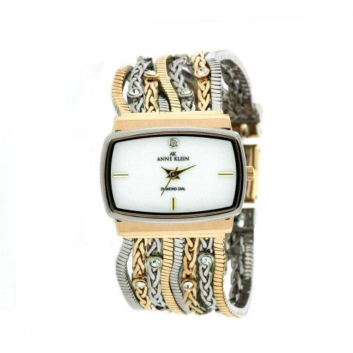 AK Anne Klein Women's 109271MPTT Swarovski Crystal Accented Two-Tone Multi-Chain Bracelet Watch