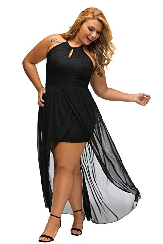 Gloria&Sarah Women's Front Keyhole Lace Halter Special Occasion Plus Size Mini Dress,Black,XXL