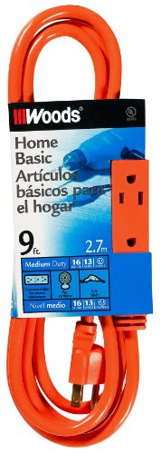 Woods 2864 9-Foot 3-Outlet Extension Cord With Power Tap, Orange